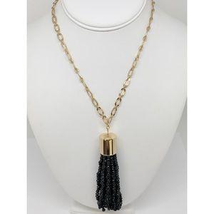 Sugarfix Black Beaded Tassel Necklace